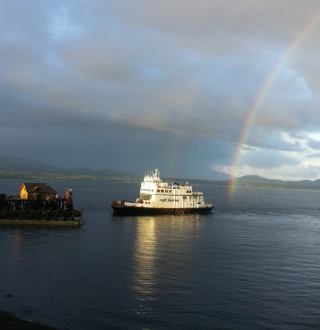 Cropped ferry and rainbow